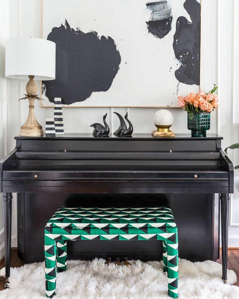 Upholstered Velvet piano bench | Spoonflower Blog