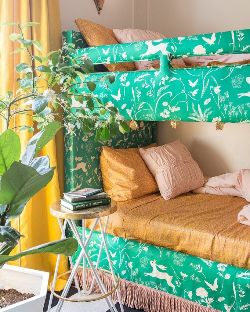 Upholster bunkbed featuring a rabbit design | Spoonflower Blog