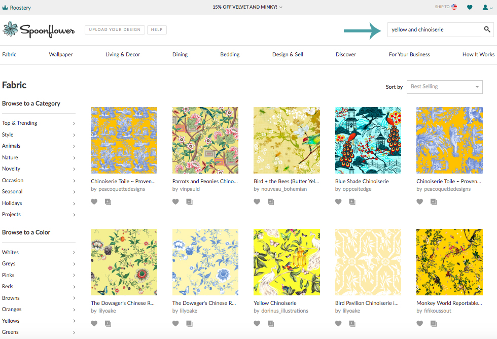 """Instead of searching """"moody floral"""" or """"yellow chinoiserie"""" try typing in """"moody and floral"""" or """"yellow and Chinoiserie"""". 