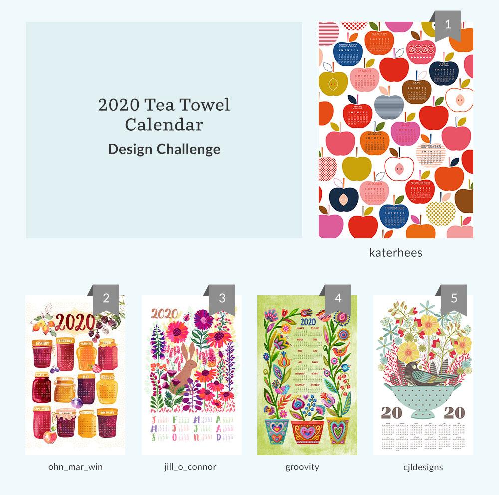 Top five 2020 Tea Towel Calendar Design Challenge Winners | Spoonflower Blog