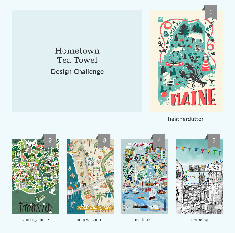 See Where You Ranked in the Hometown Tea Towel Design Challenge | Spoonflower Blog