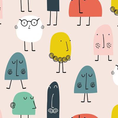 Cartoon faces wallpaper design