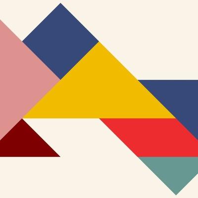 Geometric tangram wallpaper design