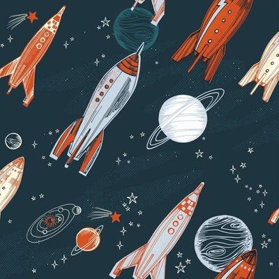 Vintage rocket ships outer space wallpaper design