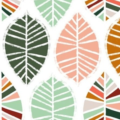 Coral and pine colored leaves wallpaper design