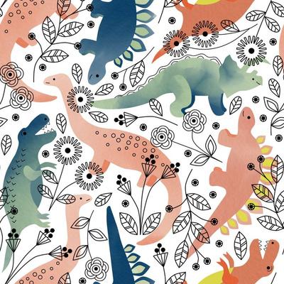 Watercolor dinosaurs wallpaper design