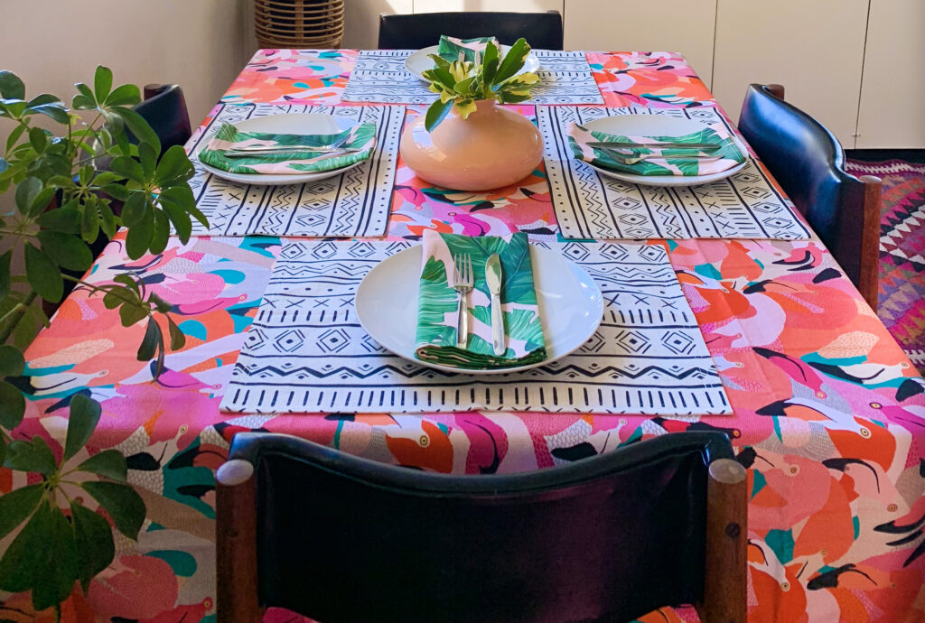 6 Ways to Style Your Table this Season - The Flamingo and the Fox Tablescape | Spoonflower Blog
