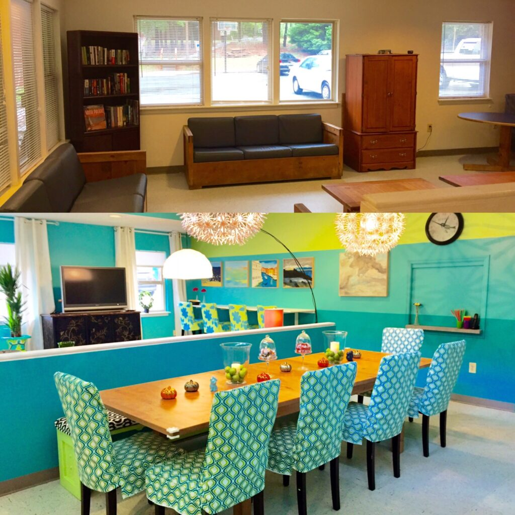 Bright colors and a fresh coat of paint completely transform the common area of a local shelter. | Spoonflower Blog