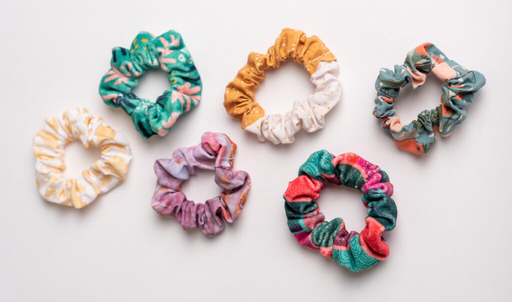 A collection of five handmade scrunchies | Spoonflower Blog