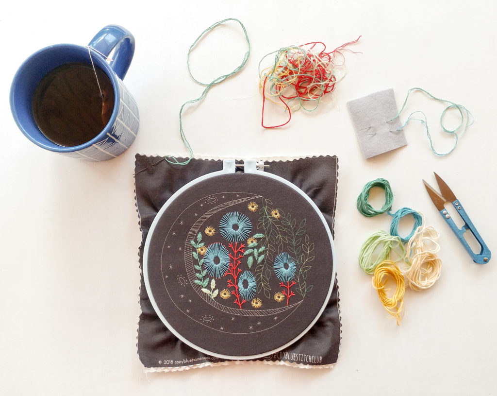 Meet Maker Liz Stiglets of Cozyblue Handmade - embroidery thread and hoop with a cup of tea | Spoonflower Blog