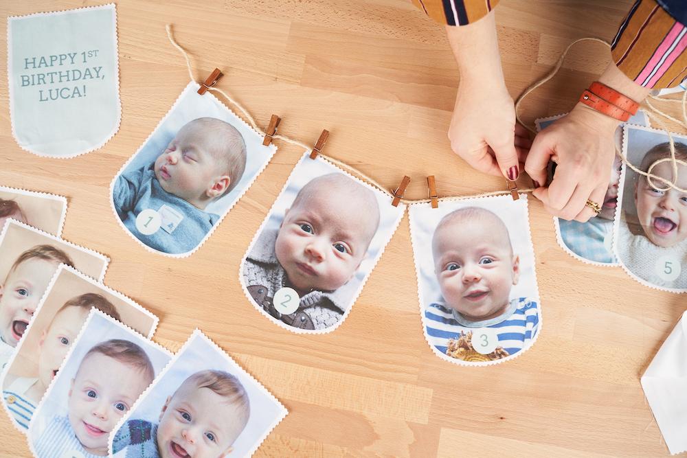 DIY First Birthday Photo Garland | Spoonflower Blog