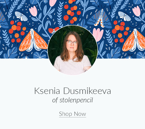 September Designer Spotlight: Meet Ksenia Dusmikeeva of stolenpencil | Spoonflower Blog