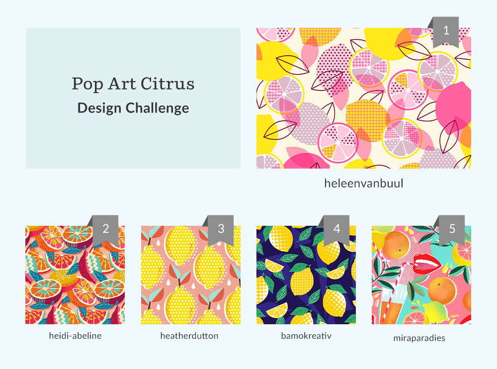 Pop Art Citrus Design Challenge Winners | Spoonflower Blog