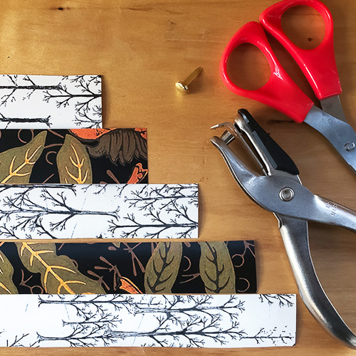 DIY gift bow step 1: cut out the paper strips | Spoonflower Blog