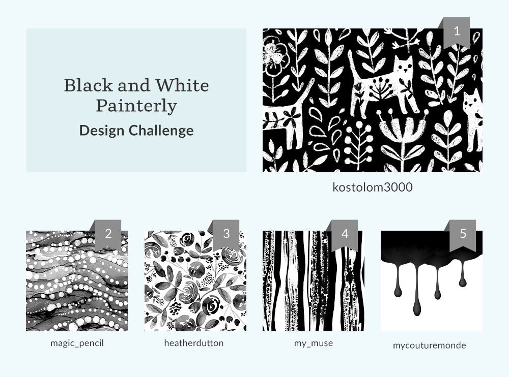 See Where You Ranked in the Black and White Painterly Design Challenge | Spoonflower Blog