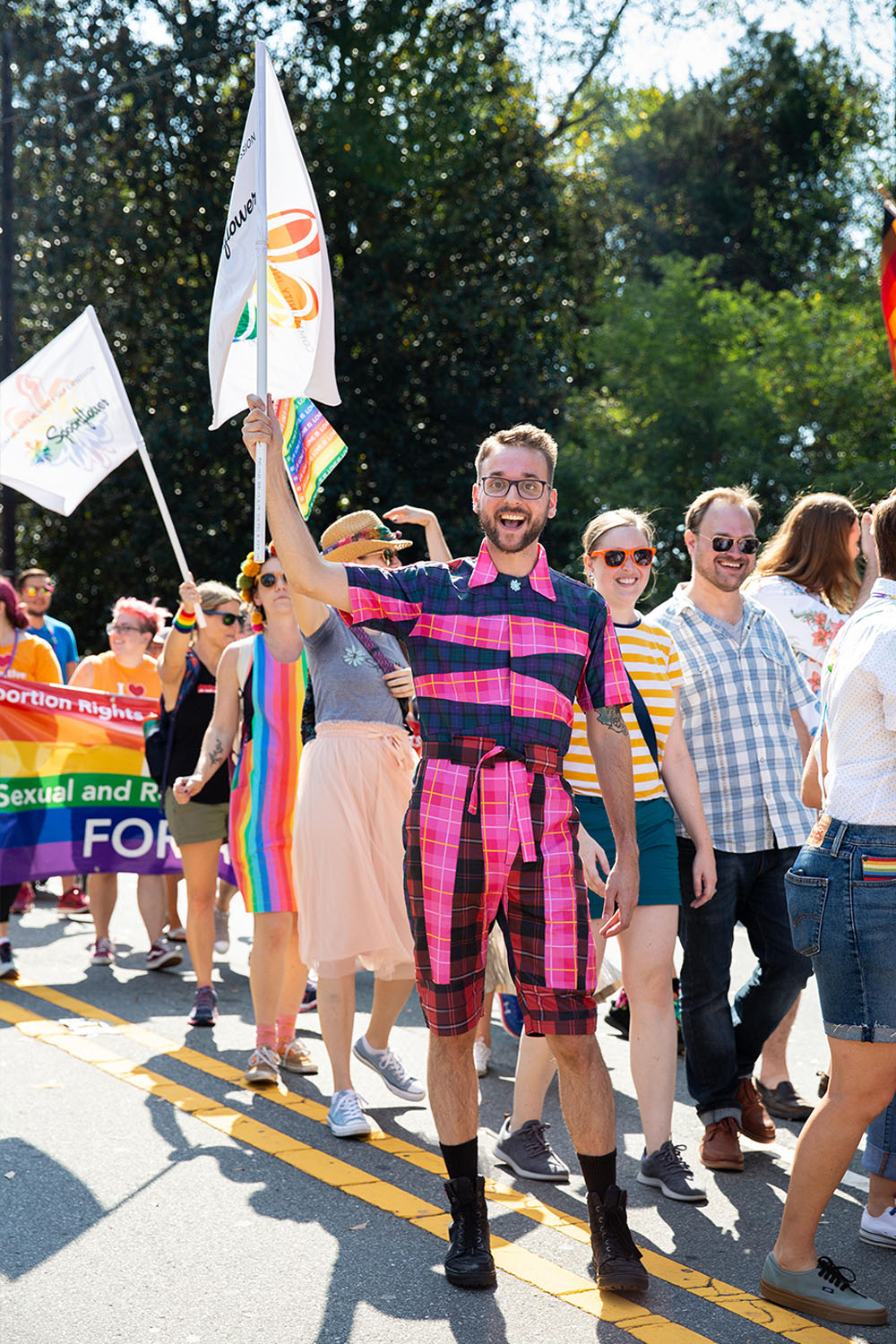 Spoonflower employees march in a local Pride parade