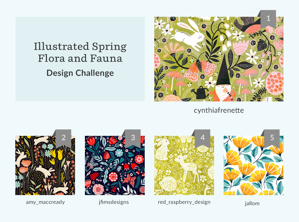 See Where You Ranked in the llustrated Spring Flora and Fauna Design Challenge | Spoonflower Blog