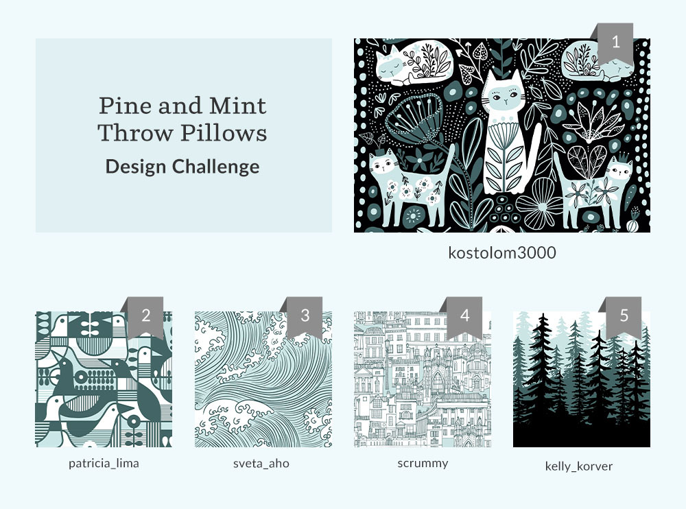 See Where You Ranked in the Pine and Mint Throw Pillows Design Challenge | Spoonflower Blog