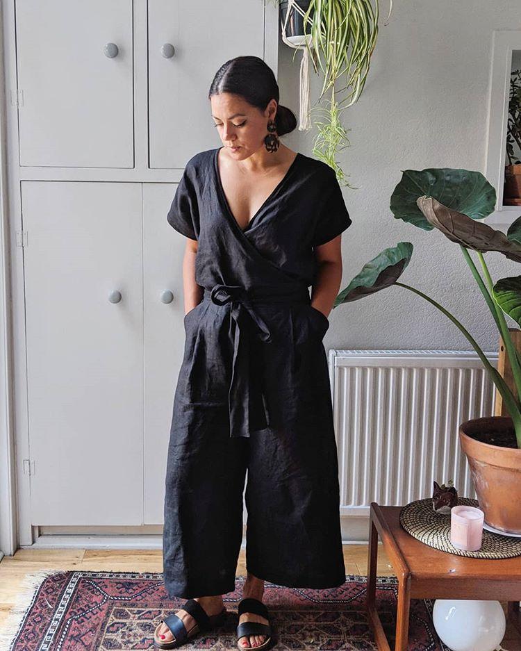 Tara wears a black Zadie Jumpsuit | Spoonflower Blog
