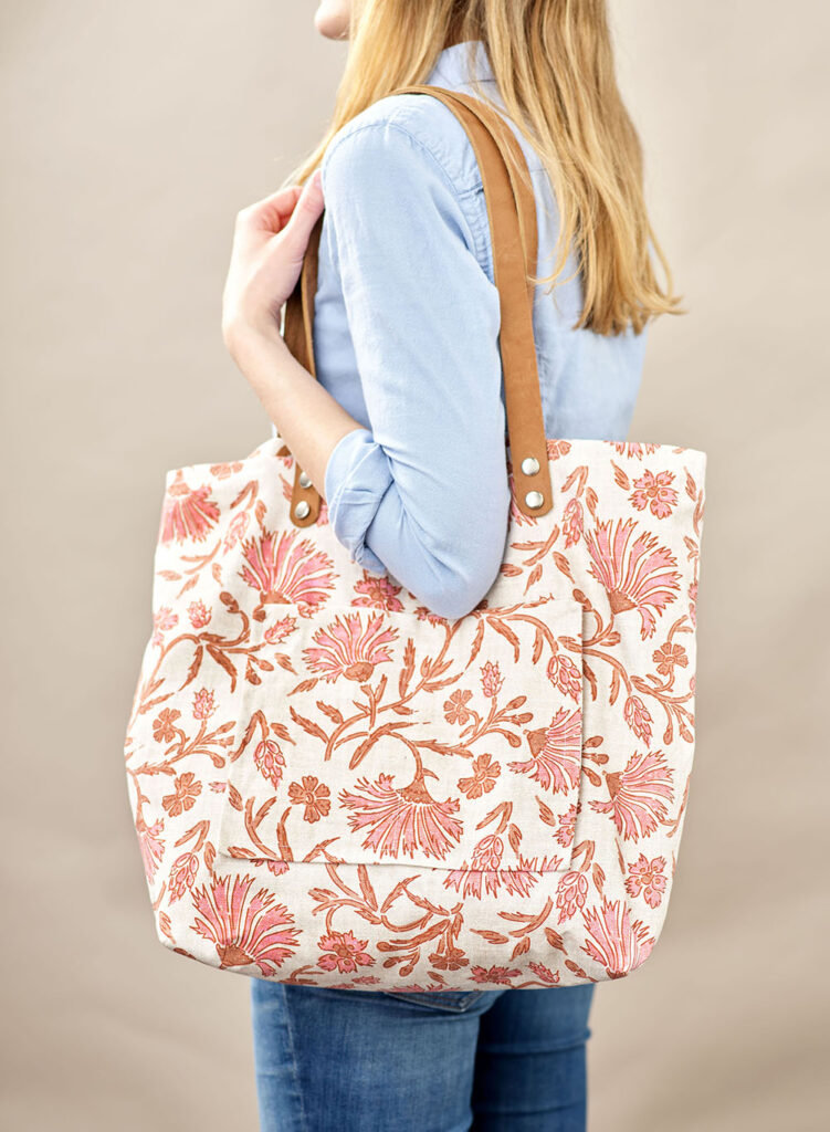 Handmade patchwork drawstring tote bag with Inner pocket custom embroidery name available