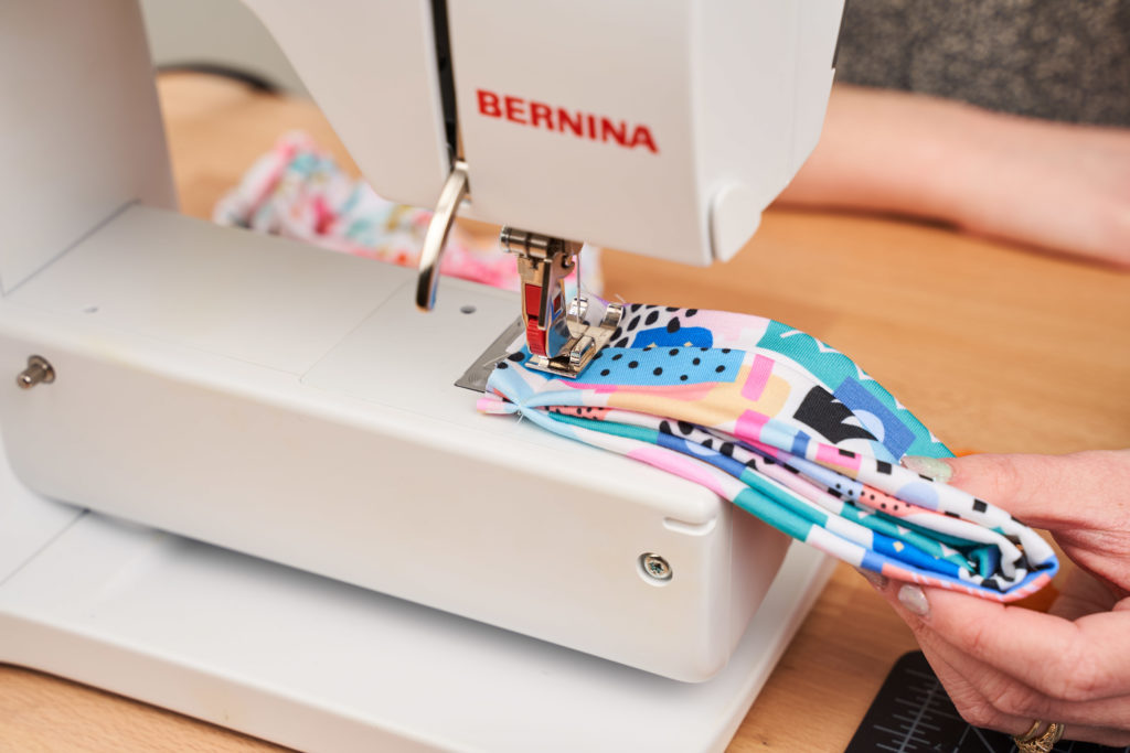 Stitch the headband base and bow base together | Spoonflower Blog