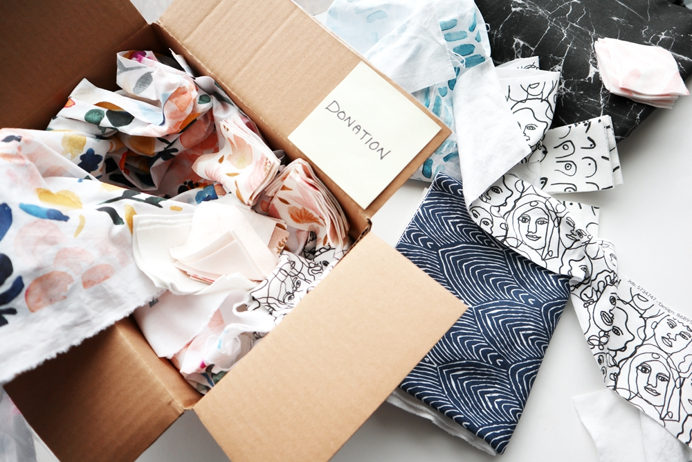Donation box of fabric scraps from Freon Collective | Spoonflower Blog