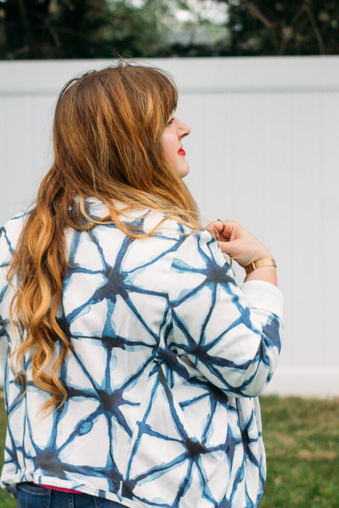 Lola Cardigan by Schnittchen Patterns in the design Shibori Geometric by sveta_aho, printed on Organic Cotton Knit | Spoonflower Blog