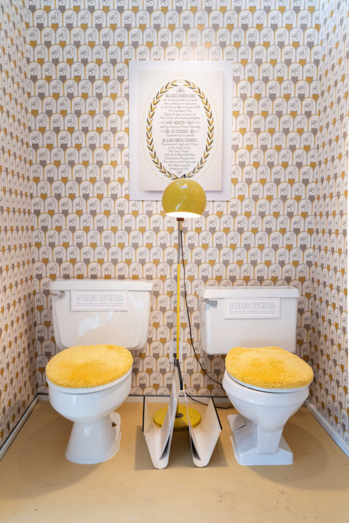 Spoonflower wallpaper in the bathroom of The Sid Show | Spoonflower Blog