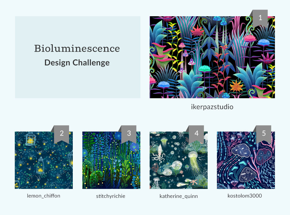 See Where You Ranked in the Bioluminescence Design Challenge  | Spoonflower Blog