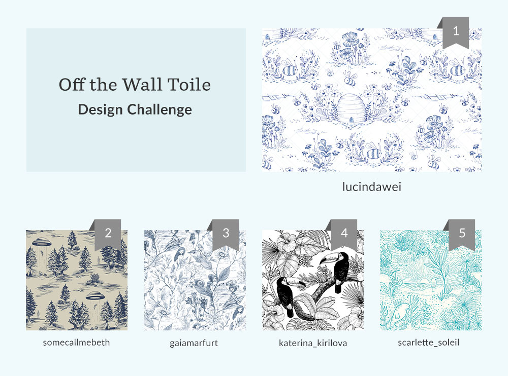 See Where You Ranked in the Off the Wall Toile Wallpaper Design Challenge | Spoonflower Blog