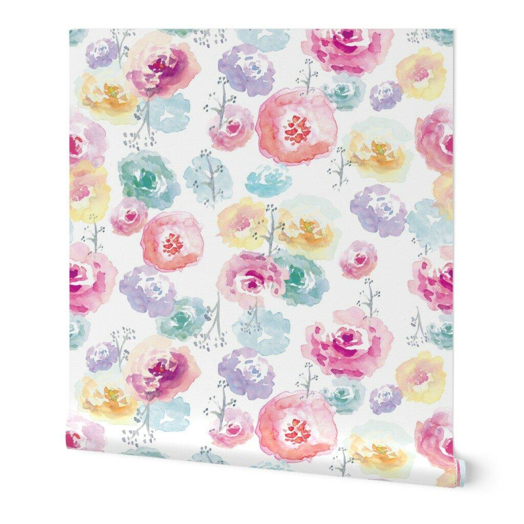 The Honest Company® Rose Blossom Print Wallpaper | Spoonflower Blog