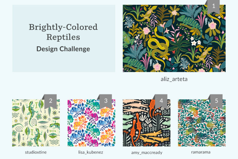 See Where You Ranked in the Brightly-Colored Reptile Design Challenge | Spoonflower Blog