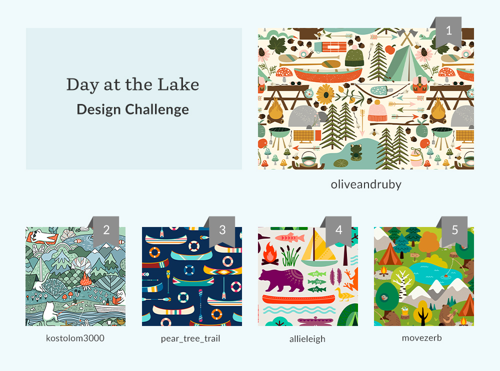 See Where You Ranked in the Day at the Lake Design Challenge | Spoonflower Blog