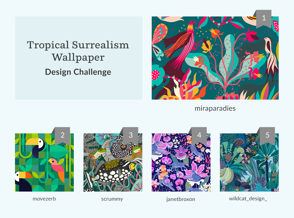 See Where You Ranked in the Tropical Surrealism Wallpaper Design Challenge | Spoonflower Blog