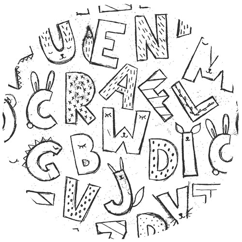 Cute Alphabet / Black and White by julia_dreams | Spoonflower Blog