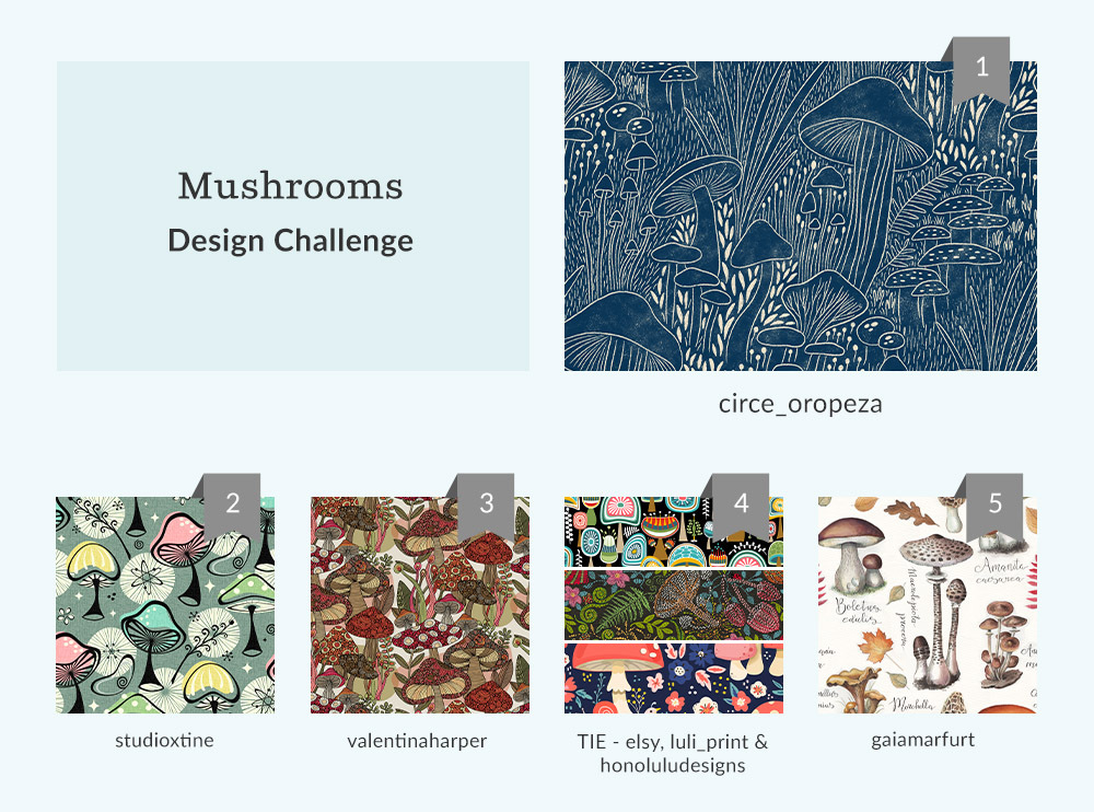 See Where You Ranked in the Mushrooms Design Challenge | Spoonflower Blog