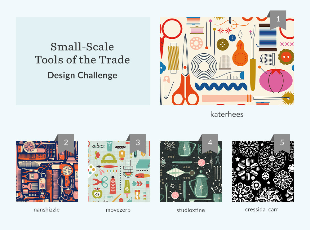 See Where You Ranked in the Small-Scale Tools of the Trade Design Challenge | Spoonflower Blog