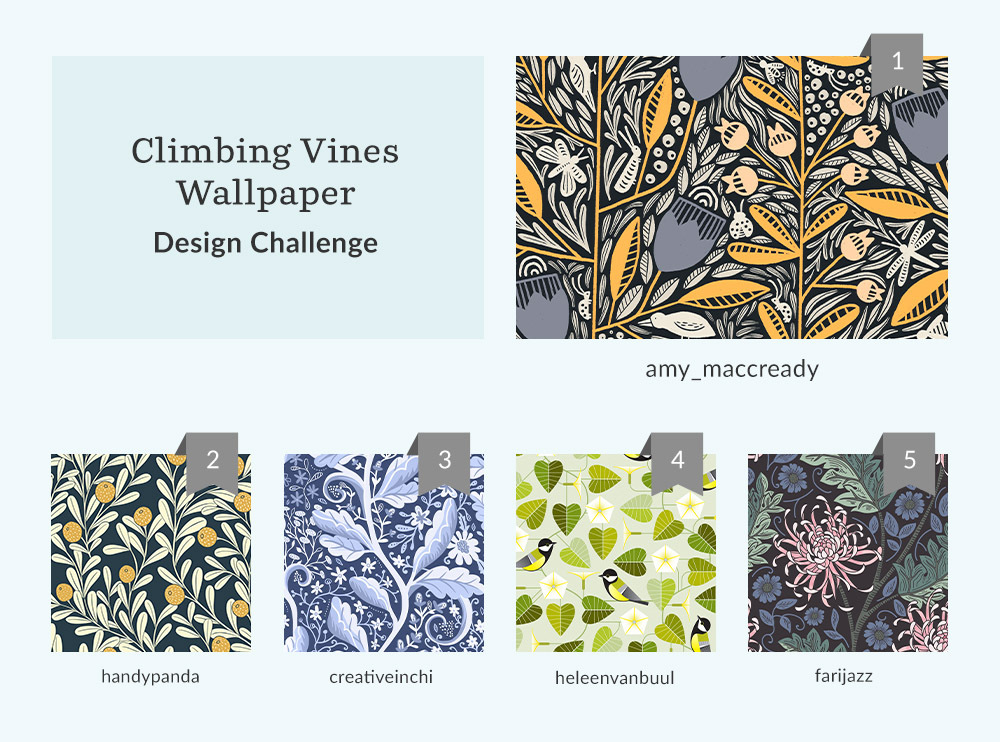See Where You Ranked in the Climbing Vines Wallpaper Design Challenge | Spoonflower Blog