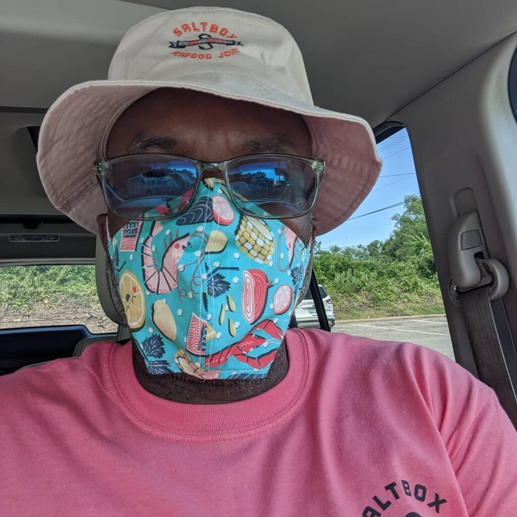 Saltbox Seafood founder Ricky Moore  wears a seafood inspired mask | Spoonflower Blog
