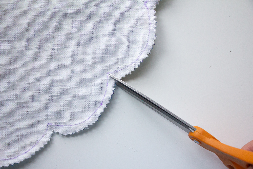 Trim the scalloped edge seam allowance | Spoonflower Blog