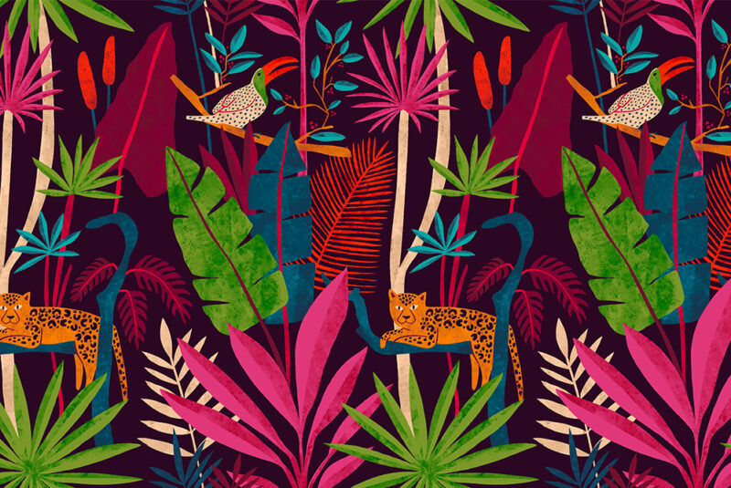 Colorful surface design with jungle flora and fauna