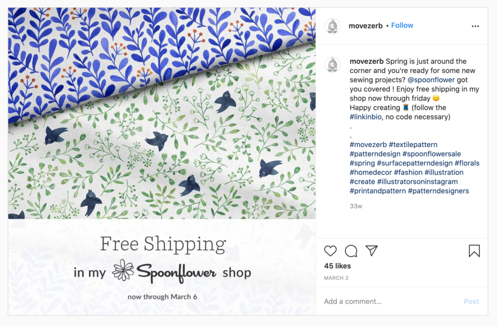 Free Shipping promotion on Instagram from designer movezerb