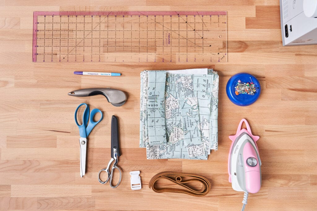 An overhead view of the materials for the backpack tutorial