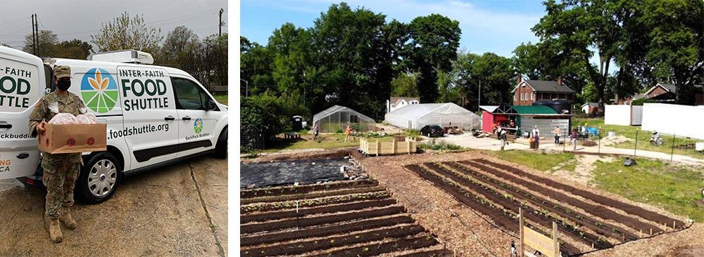 A volunteer at Raleigh City Farm helps deliver food. A picture of Raleigh City Farm in Raleigh, North Carolina.