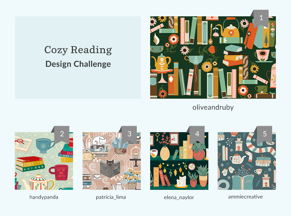 Top five designs from the Cozy Reading | Spoonflower Blog