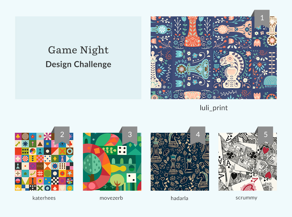 Top five designs from the Game Night Design Challenge | Spoonflower Blog