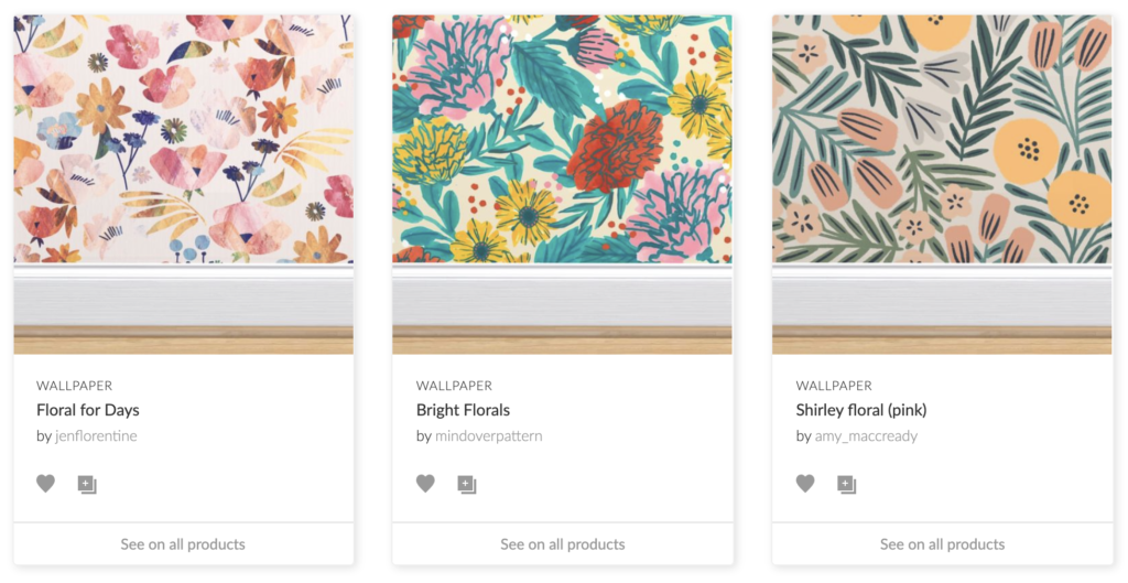 Three floral designs from the Spoonflower Marketplace