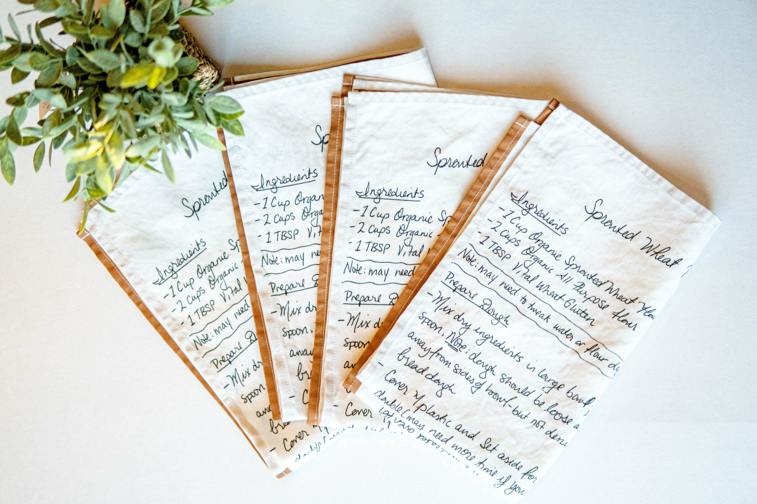 Tea towels with digitally printed family recipe