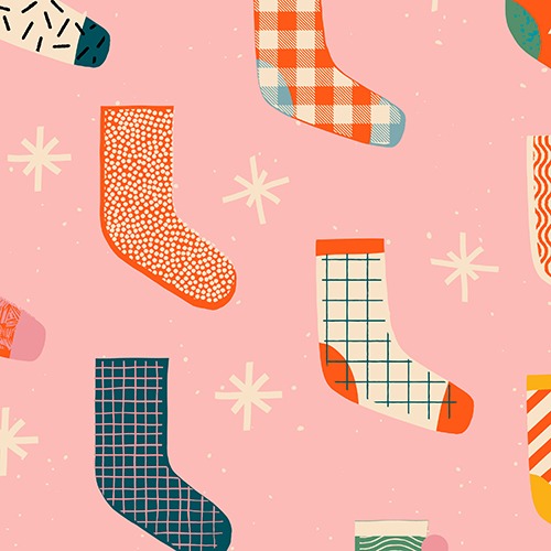 Pattern featuring colorful socks and stars
