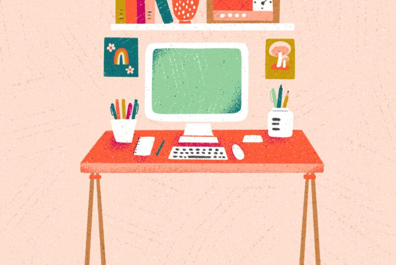 Drawing of a pink workspace with a computer, desk, bookshelf, pencils and plant
